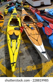 DALKEY, IRELAND - MAY 17: Colourful kayaks landed across the slipway at Bulloch Harbour on May 17, 2014 in Dalkey, Ireland.