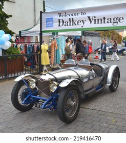 DALKEY, IRELAND - SEPTEMBER 14: A vintage open top Riley sports car at the Dalkey Vintage Car Festival on September 14, 2014 in Dalkey, Ireland.