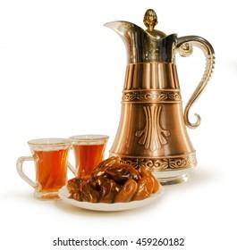 Dallah or Traditional Arabic coffee mug in Close up