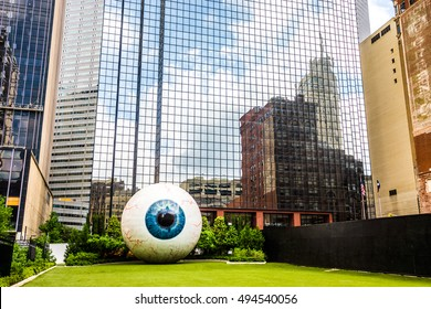 DALLAS - CIRCA JUNE 2014: The Eye is a statue in downtown Dallas, Texas located at the Joule Hotel.