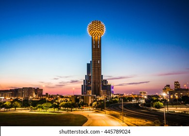 DALLAS - CIRCA JUNE 2014: The Reunion Tower stands as the sun sets in Dallas, Texas.