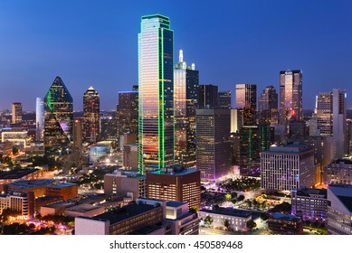 Dallas City Skyline at dusk, sunset, Texas downtown, business center. Commercial zone in big city. View from Reunion Tower.