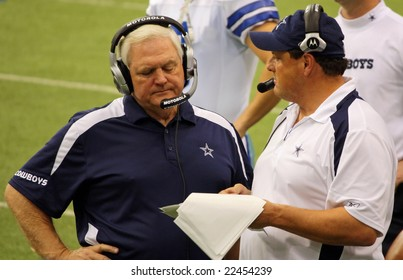 DALLAS - DEC 14: Sunday, December 14, 2008. Dallas Cowboys Head Coach Wade Phillips on the sideline during a game with the NY Giants. Taken in Texas Stadium.