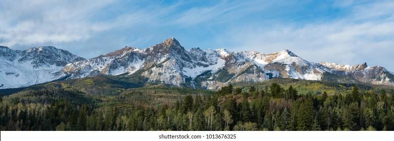 Dallas divide range with first snow, San Juan Mountains, Colorado