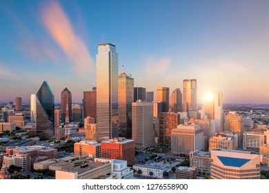 Dallas downtown skyline at sunset from top view in USA