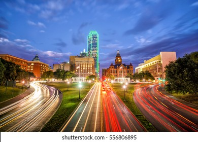 Dallas downtown skyline at twilight, Texas USA