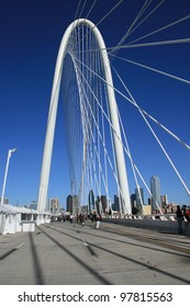 DALLAS - MARCH 4: The Margaret Hunt Bridge is open to the public this weekend. Today, 3-4-2012,  is the last day pedestrians can walk over the new bridge in Dallas which will be for cars only.