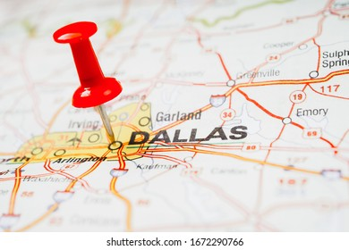 Dallas on USA map travel background