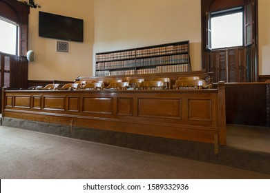 DALLAS, OREGON - MAY 11, 2015: Light from Open Windows Falls on the Jury Box in a Courtroom in the Polk County Courthouse