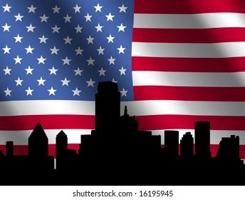 Dallas skyline against rippled American Flag illustration