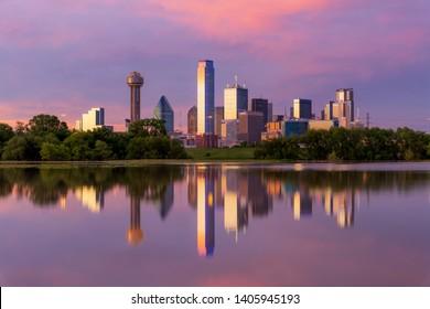 Dallas Skyline on a nice sunset evening