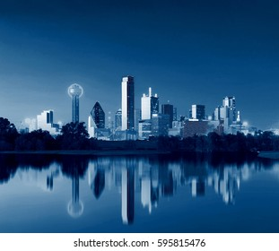 Dallas Skyline Reflection at Dawn, Downtown Dallas, Texas, USA