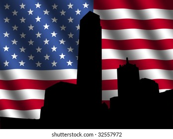 Dallas skyline with rippled American Flag illustration