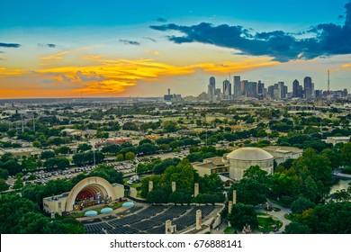Dallas Skyline Sunset Aerial View, Texas