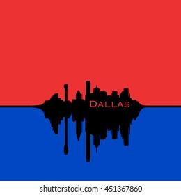 Dallas, Texas City Skyline, Red sky, blue reflection