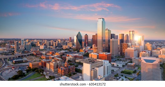 Dallas, Texas cityscape with blue sky at sunset, Texas - Shutterstock ID 635413172