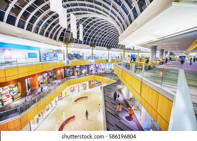 Dallas, Texas - February 22, 2017: Galleria Dallas. An upscale shopping mall located in north Dallas, Texas. People are shopping.