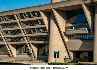 Dallas, Texas - May 7, 2018: Dallas City Hall, designed by renouned architect I. M. Pei, was used for the Robocop movies