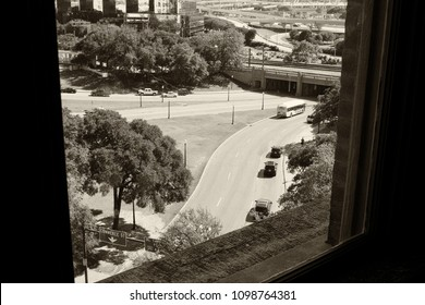 Dallas, Texas - May 8th 2018: Dealey Plaza panorama view of road where JFK motorcade was shot, elm street