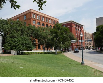 DALLAS, TEXAS, USA—Building on the left is the Sixth Floor Museum at Dealey Plaza where the sniper was believed to have fired the shot that killed Pres. John F. Kennedy. Photo taken in August 2015.