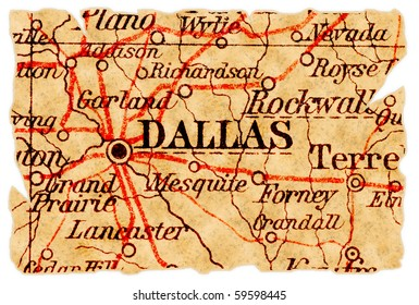 Dallas, Texas on an old torn map from 1949, isolated. Part of the old map series.