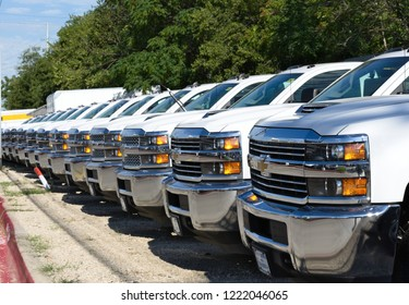 Dallas, Texas - September 20, 2018 a line of Chevrolet pickups parked at the dealer in Dallas