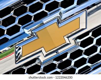 Dallas, Texas - September 20, 2018 the Chevrolet logo on a new cheve truck