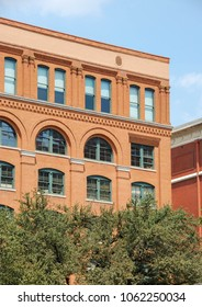 Dallas, Texas - September 2009: Close up view of the Texas School Book Depository building in the city centre which is now a museum about the assassination of President John F Kennedy.