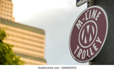 Dallas, Texas - September 2009: Close up view of a sign for the McKinney Avenue trolley system which is also know as the M-Line Trolley