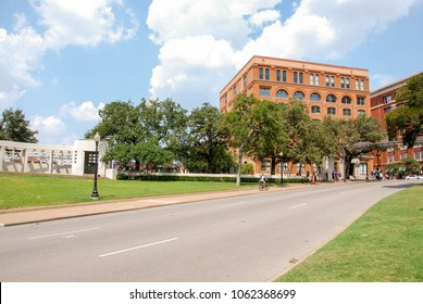 Dallas, Texas - September 2009: Landscape view of the street where President John F Kennedy was assassinated. The Texas School Book Depository building is in the background