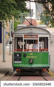 Dallas, Texas - September 2009: Scenic view of a streetcar on the McKinney Avenue trolley system which is also know ans the M-Line Trolley