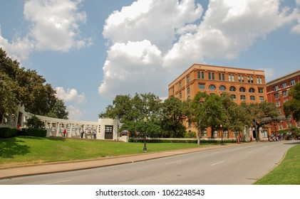 Dallas, Texas - September 2009: Wide angle view of the street where President John F Kennedy was assassinated. The Texas School Book Depository building, now a museum, is in the background.