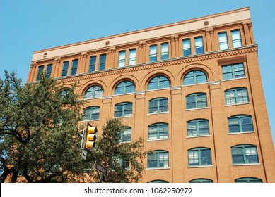 Dallas, Texas - September 2009: Wide angle view of the Texas School Book Depository building in the city centre which is now a museum about the assassination of President John F Kennedy.