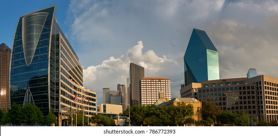 The Dallas Texas Skyline taken on the south side of Klyde Warren Park