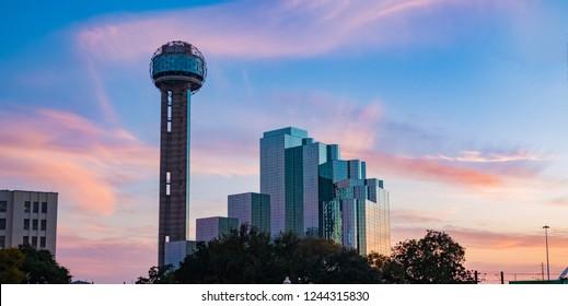 Dallas, Texas at sunset November,2018
