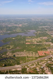 Dallas Texas surrounding areas and lakes seen from high altitude