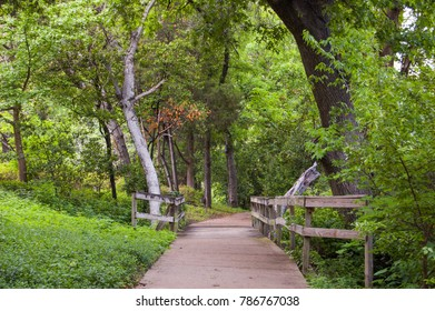 Dallas Texas. Turtle Creek Park. Downtown City Park with a sidewalk path with lots of buches and trees