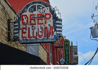 Dallas, Texas / United States - 04-04-2017: The Deep Ellum neighborhood is the historic center of music in Dallas and a major tourist destination.