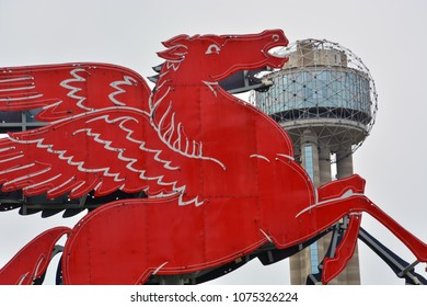 Dallas, Texas / United States - 04-04-2017: The unofficial city mascot, Pegasus originally loomed over the Magnolia Hotel and is now a city art installation on the grounds of the Omni Hotel in Dallas.