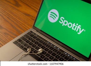 Dallas, Texas/ United States - 06/7/2018: (Photograph of the Spotify logo on computer screen)