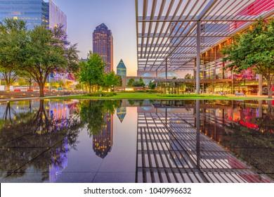 Dallas, Texas, USA downtown plaza and skyline.