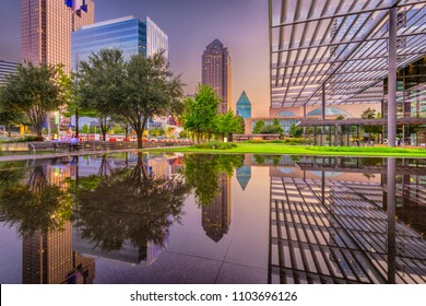 Dallas, Texas, USA downtown plaza and cityscape at twilight.