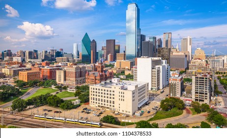 Dallas, Texas, USA downtown skyline from above.