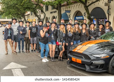 Dallas, Texas, USA. June 2, 2019: The new  Sixt Shelby Mustang GT-S make their way from Las Vegas to Florida with a stop in Dallas. CEO Sixt Sebastian Birkel, Aaron Shelby and the drivers of the GT-S
