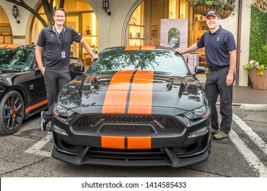 Dallas, Texas, USA. June 2, 2019: The new  Sixt Shelby Mustang GT-S make their way from Las Vegas to Florida with a stop in Dallas. CEO Sixt Sebastian Birkel and Aaron Shelby