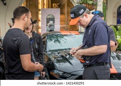 Dallas, Texas, USA. June 2, 2019: The new  Sixt Shelby Mustang GT-S make their way from Las Vegas to Florida with a stop in Dallas. Aaron Shelby autographing hats