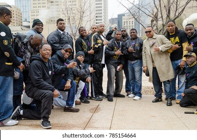 Dallas, Texas / USA - March 23, 2013: Alpha Phi Alpha Fraternity at the Mayor Mike Rawlings of Dallas Rally Against Domestic Violence