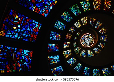 Dallas Texas, USA May 19, 2008 The spiral stained glass ceiling of the Thanks Giving chapel in Dallas Texas ascends upward in the nondenominational temple.