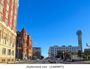DALLAS, TEXAS, USA - OCTOBER 23, 2017. The Dealey Plaza in Dallas downtown. Historic town square on sunny day against a blue sky. Urban skyline of American famous place.