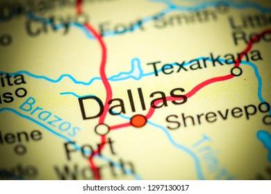 Dallas, Texas. USA on a map